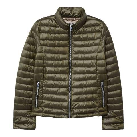 Mango Khaki Contrast Liner Quilted Coat
