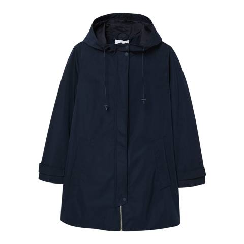 Mango Dark Navy Hooded Water-Repellent Parka