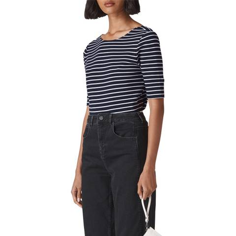 WHISTLES Multi Stripe Scoop Cotton Top