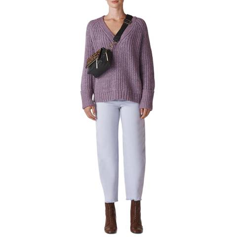 WHISTLES Purple Rib Chunky Jumper