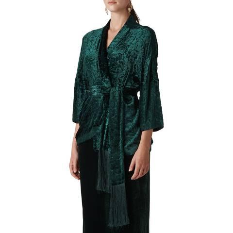 WHISTLES Green Evony Kimono Jacket