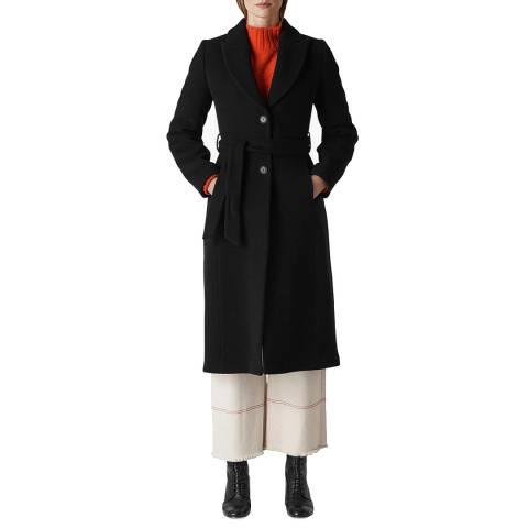 WHISTLES Black Penelope Belted Coat