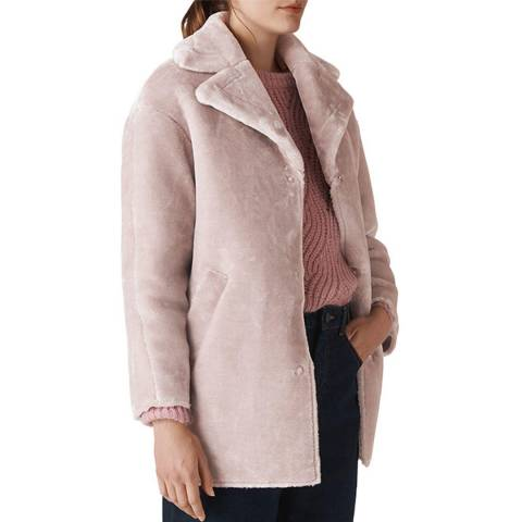 WHISTLES Lilac Faux Fur Cocoon Coat