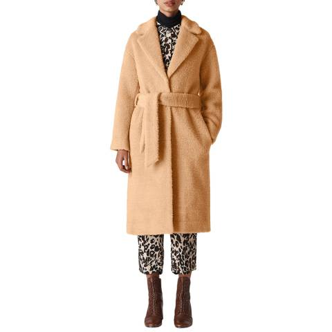 WHISTLES Beige Textured Wool Blend Coat