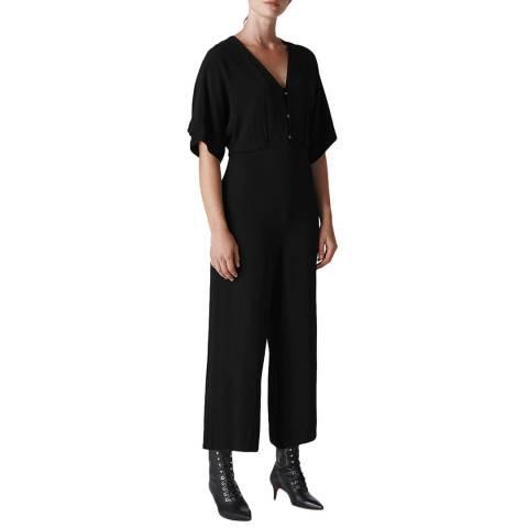 WHISTLES Black Fernanda Button Jumpsuit