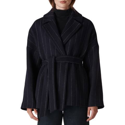 WHISTLES Navy Stripe Belted Wrap Coat