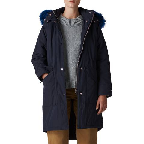 WHISTLES Navy Megan Parka Jacket