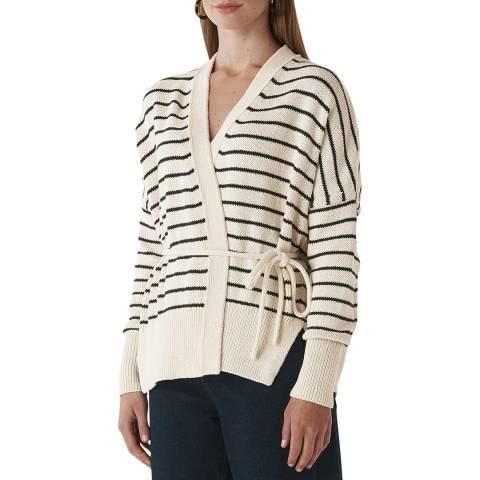 WHISTLES Multi Stripe Cotton Cardigan
