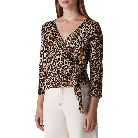 WHISTLES Multi Leopard Cotton Top