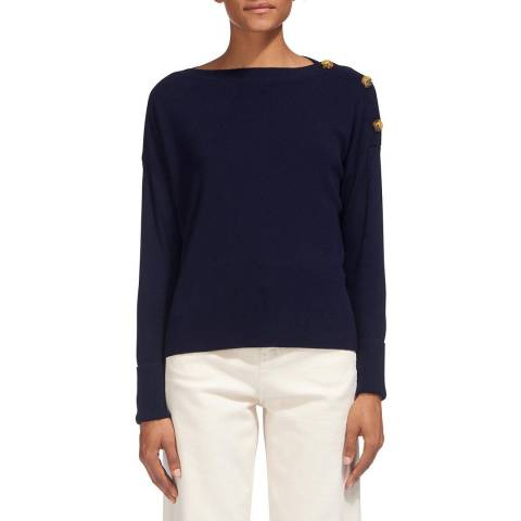 WHISTLES Navy Button Sleeve Jumper