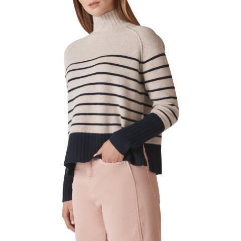 WHISTLES Multi Stripe Funnel Wool Jumper