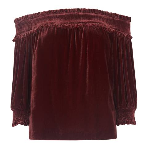 WHISTLES Red Ruffle Bardot Top