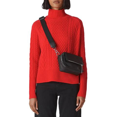 WHISTLES Red Cable Funnel Wool Jumper