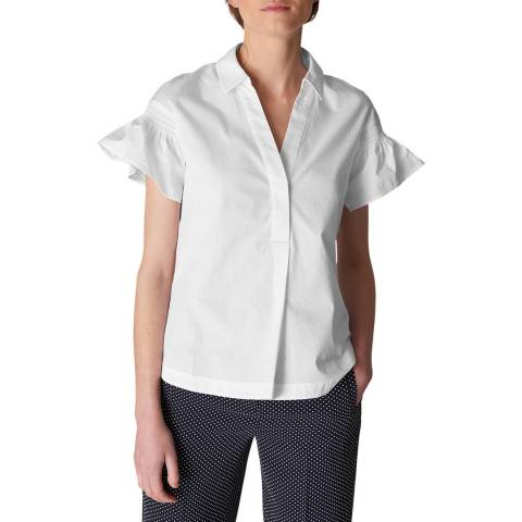 WHISTLES White Frill Cotton Poplin Shirt