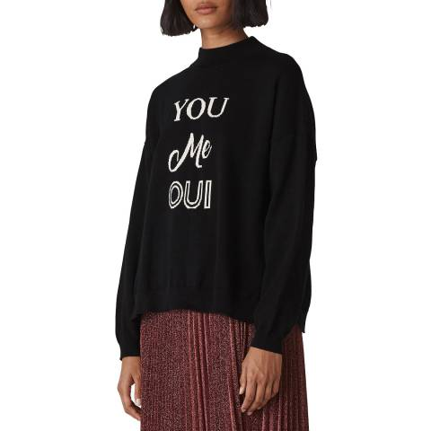 WHISTLES Black You Me Oui Cotton Jumper