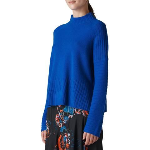 WHISTLES Blue Rib Detail Wool Jumper