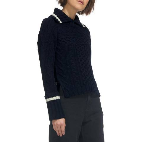 WHISTLES Navy Cable Wool Jumper