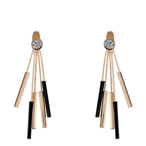 Liv Oliver 18K Gold Cz & Onyx Fringe Earrings