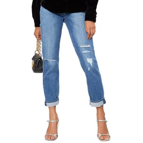 J Brand Blue Distressed Johnny Boyfriend Stretch Jeans