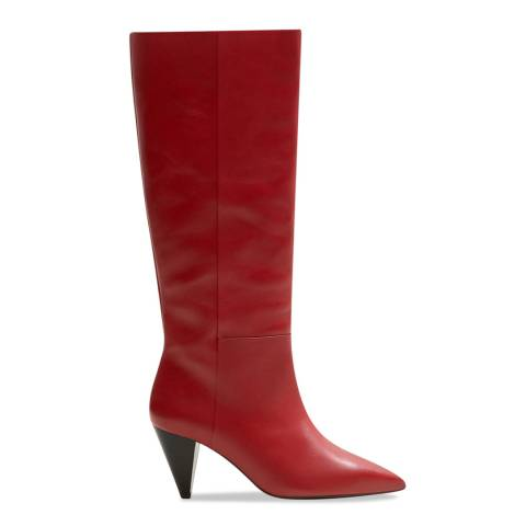 Mango Red Conical Heeled Knee Boot