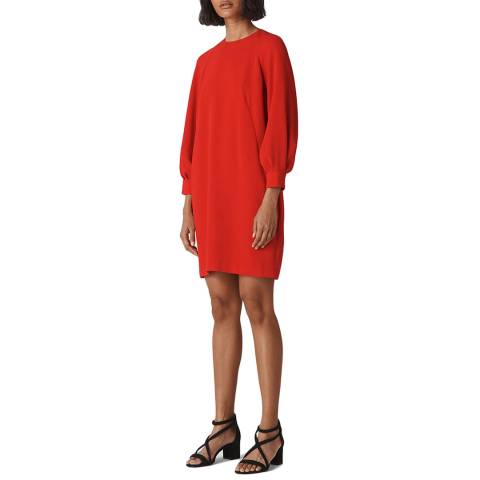 WHISTLES Red Tihara Textured Dress
