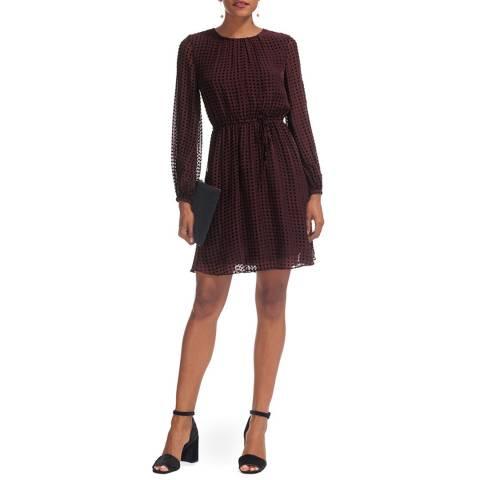 WHISTLES Burgundy Spot Flippy Dress