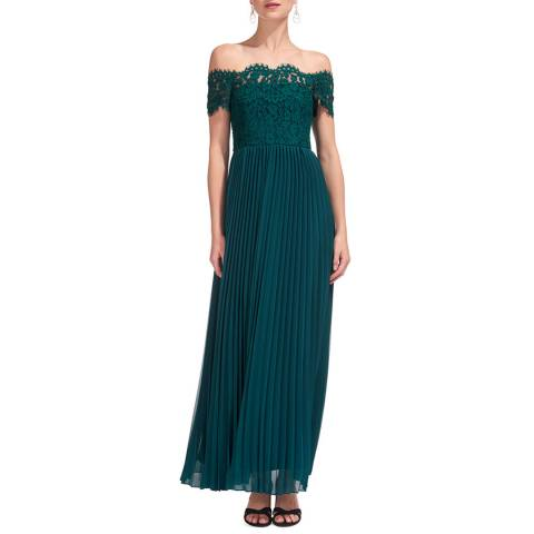 WHISTLES Green Lace Pleat Maxi Dress