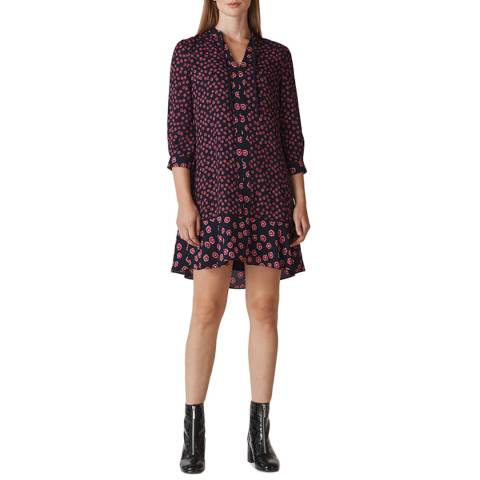 WHISTLES Pink/Navy Lenno Shirt Dress