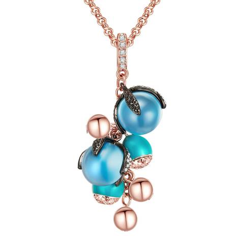 Lilly & Chloe Blue/Rose Gold Crystal Pendant Necklace