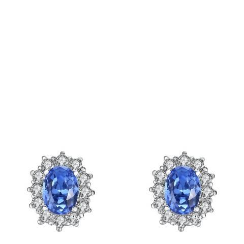 Lilly & Chloe Silver/Blue Crystal Stud Earrings