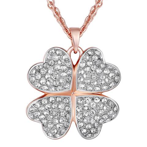 Lilly & Chloe Rose Gold Crystal Clover Necklace