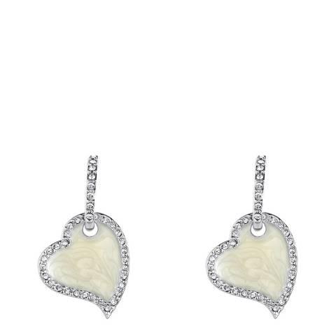 Lilly & Chloe Silver Crystal/Pearl Heart Earrings