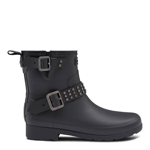 Hunter Black Refined Stud Biker Wellington Boot