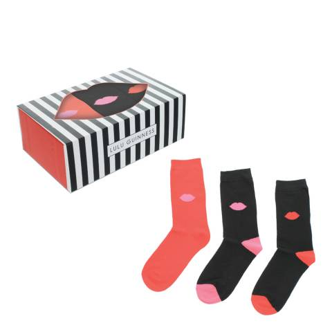 Lulu Guinness Red/Black Lips Print Socks Gift Box