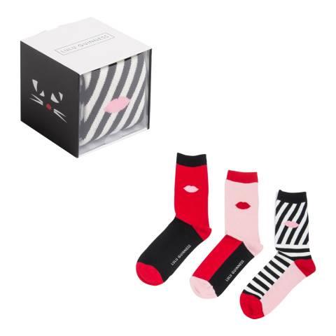 Lulu Guinness Red/Multi Colour Block Lip Print Socks Gift Box