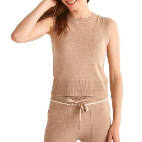 Rodier Beige Sleeveless Wool/Cashmere Blend Pullover