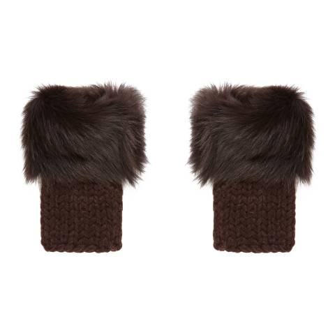 Gushlow & Cole Brown Shearling and Hand Knit Mittens