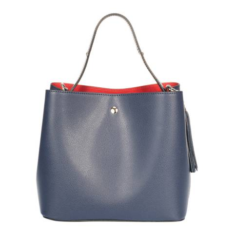 Massimo Castelli Blue Leather Shoulder Bag