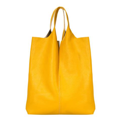 Giulia Massari Yellow Leather Top Handle Bag