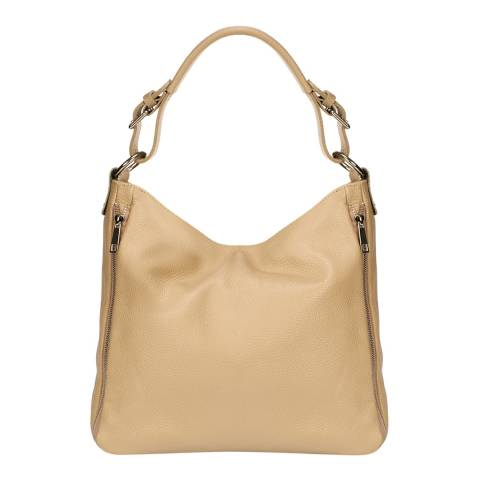 Giulia Massari Taupe Leather Shoulder Bag