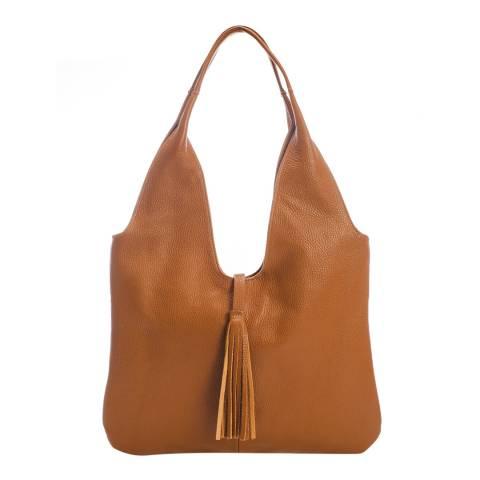Massimo Castelli Cognac Leather Top Handle Bag