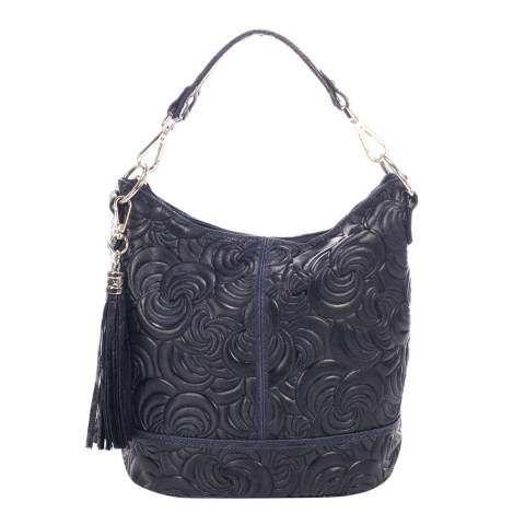 Giulia Massari Dark Blue Leather Shoulder Bag