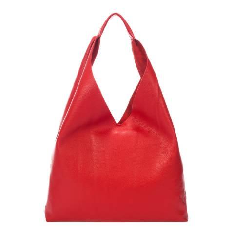 Massimo Castelli Red Leather Shoulder Bag