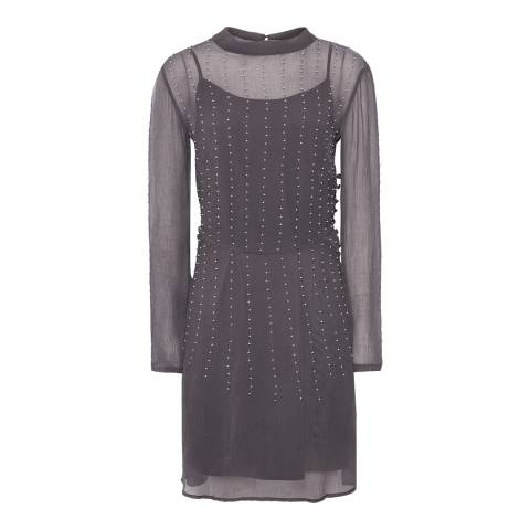 Reiss Charcoal Camile Pearl Dress