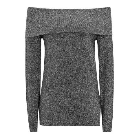 Reiss Black Jessa Metallic Jumper