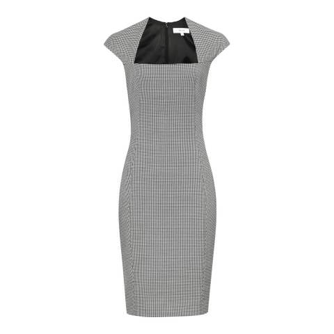 Reiss Off White/Black Mason Houndstooth Dress