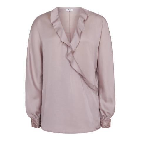 Reiss Pink Anaya Wrap Blouse