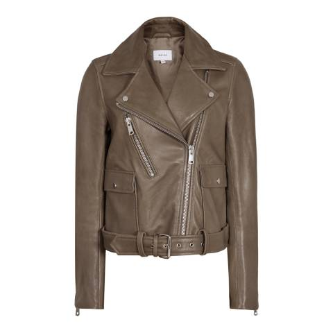Reiss Khaki Kate Leather Biker Jacket