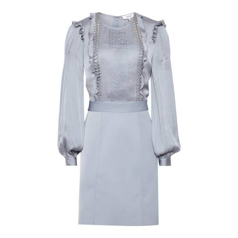 Reiss Silver Karter Ruffle Dress