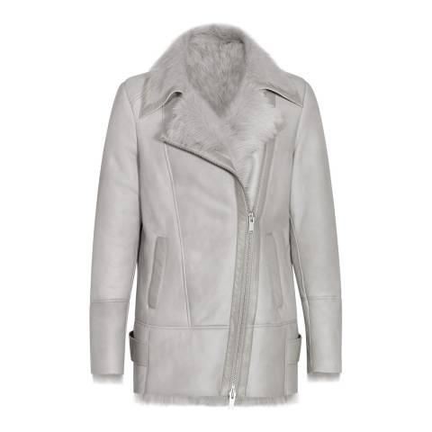 Reiss Grey Nicole Shearling Leather Jacket